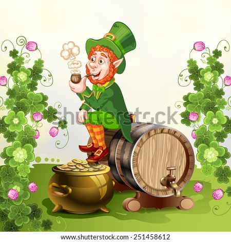 Leprechaun sitting on barrel and holding a pipe - stock photo