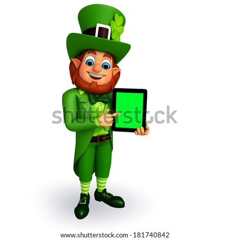 Leprechaun stands for patricks day with ipad