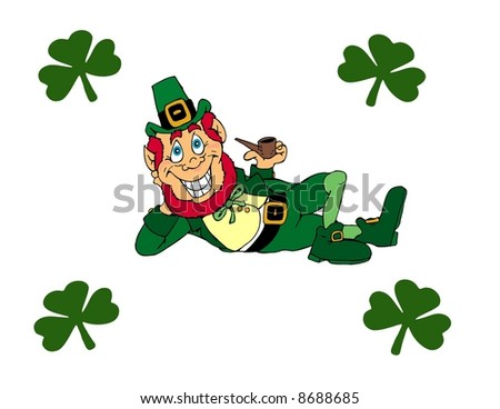 Leprechaun surrounded by clovers illustration - stock photo