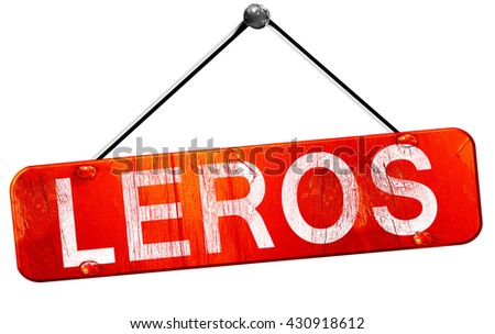 Leros, 3D rendering, a red hanging sign
