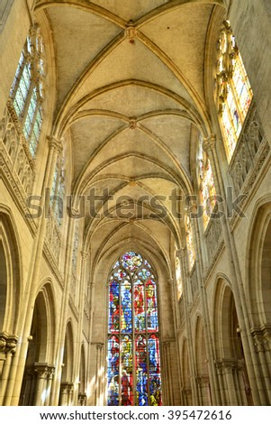 Les Andelys, France - august 10 2015 : the collegiate church build in de 1225