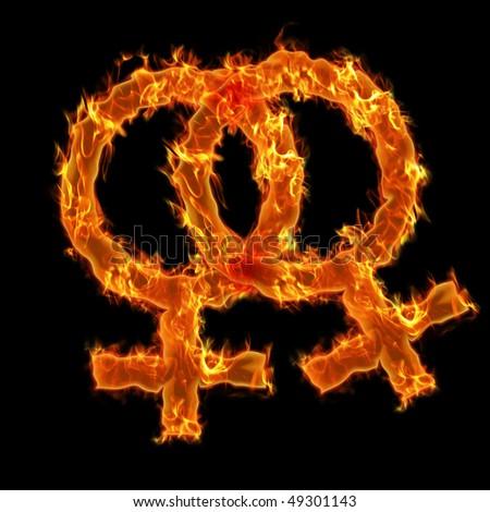 Lesbien burning symbol - stock photo