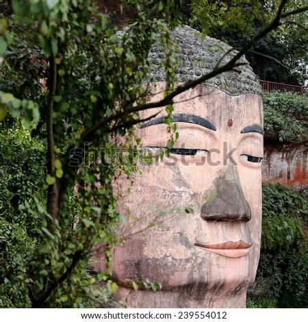 Leshan Giant Buddha in Sichuan of China - stock photo