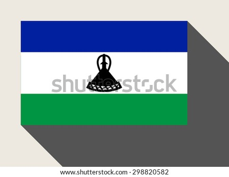 Lesotho flag in flat web design style. - stock photo