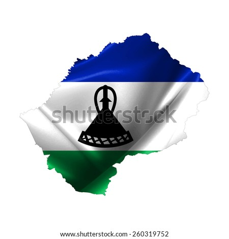 Lesotho Map - stock photo