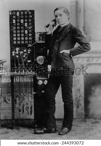 Less than ten years after Bell's 1876 demonstration of the telephone, this man worked as a long distance operator for the American Telephone and Telegraph Company in Marietta, Georgia. 1885 - stock photo