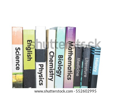 lesson books stacked word literature science stock photo royalty