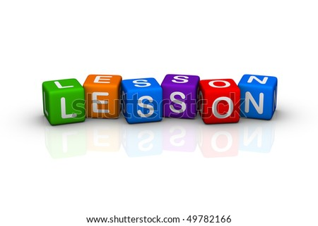 lesson (buzzword colorful cubes series) - stock photo