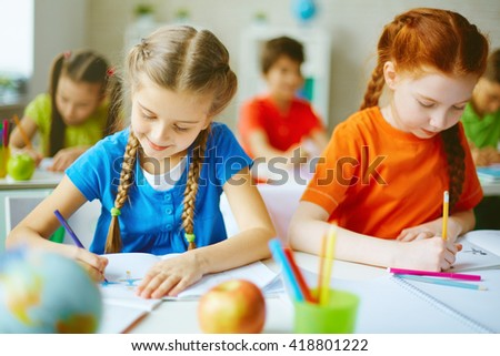 Lesson of drawing - stock photo