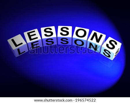 Lessons Dice Representing Practicing Experiencing and Educating - stock photo