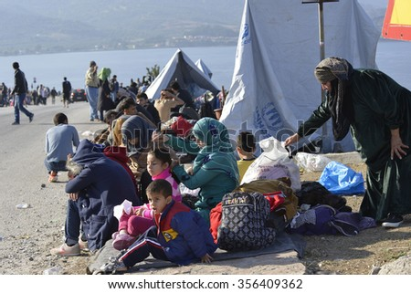 LESVOS, GREECE - october 14, 2015. Refugee migrants, arrived on Lesvos in dinghy boats, they wait in refugee camps for the ferry to Athens continuing their journey through Europe to seek asylum.