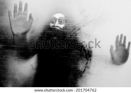 Let Me Out,Black And White Horror Background For Halloween Or Ghost Concept  - stock photo