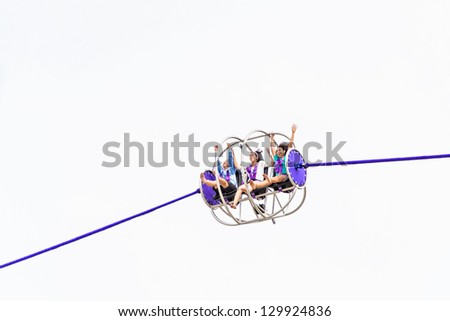 Let's play reverse bungee - stock photo