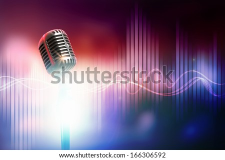 Let's sing! Stylish retro microphone on a colored background - stock photo