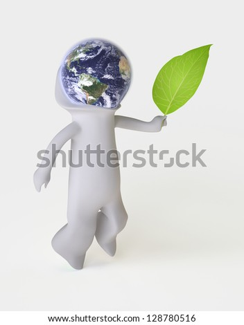 Let's Take Care of the Earth!/ Three-dimensional Man symbolizing Environmental Awareness and an Acceptance of Responsibility for the Care of our Earth (Isolated); Globe mapping image provided by NASA - stock photo