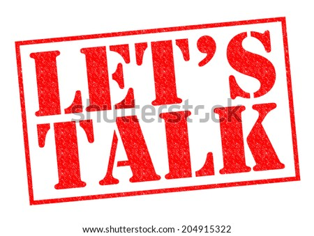 LET'S TALK red Rubber Stamp over a white background. - stock photo