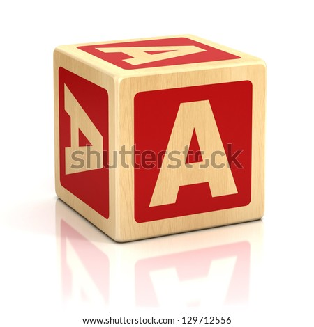 letter a alphabet cubes font - stock photo