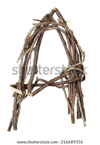 Letter A. Alphabet from the branches of birch are isolated on a white background. Wooden font. - stock photo