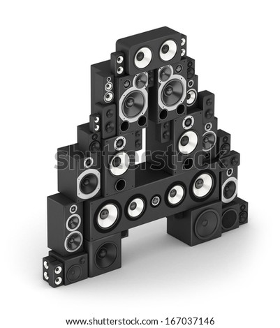 Letter A from black hi-fi speakers sound systems  in isometry - stock photo