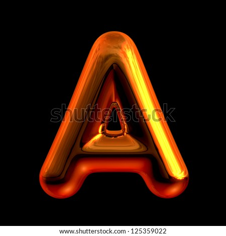 Letter A from chrome orange sunset alphabet. There is a clipping path - stock photo