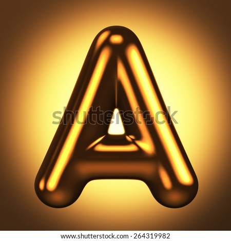 Letter A from round pure gold alphabet. There is a clipping path. The background is presented as an example. It can be replaced - stock photo