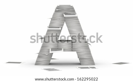 Letter A, from stacks of paper pages font - stock photo