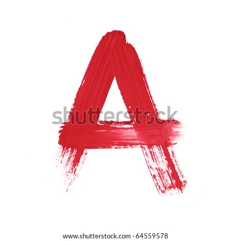 Letter A handwritten paint stroke sketch. Red Isolated on white background. One from collection set. - stock photo