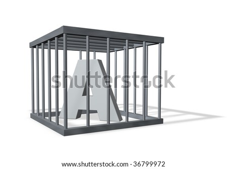 letter a in a cage on white background - 3d illustration - stock photo