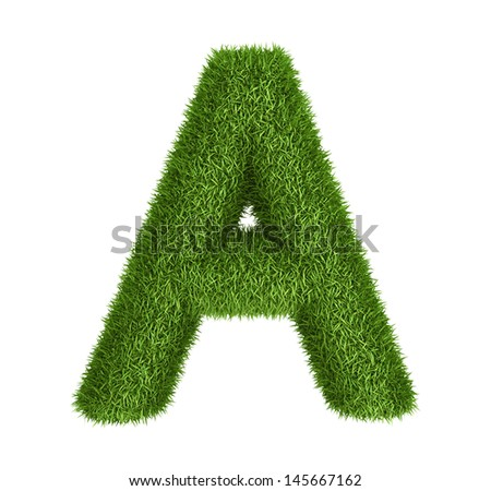 Letter  A isolated photo realistic grass ecology theme on white - stock photo
