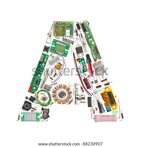Letter 'A' made of electronic components isolated in white background - stock photo