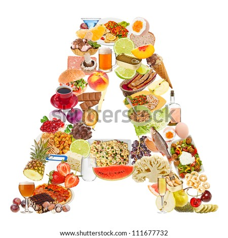Letter A made of food isolated on white background - stock photo
