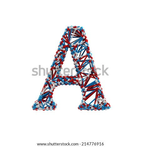 Letter A. Molecule alphabet isolated on white background. DNA font. - stock photo