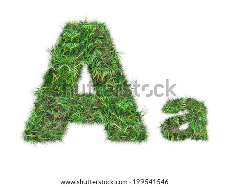 letter A on green grass isolated on over white background