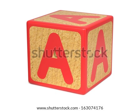 Letter A on Red Wooden Childrens Alphabet Block  Isolated on White. Educational Concept. - stock photo