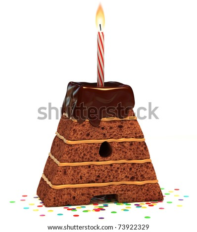 "letter ""A"" shaped chocolate birthday cake with lit candle and confetti isolated over white background - stock photo"