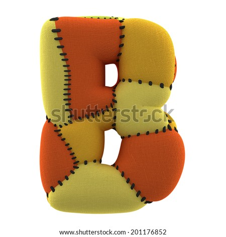 Letter A. Textile toy font  isolated on White Background. - stock photo