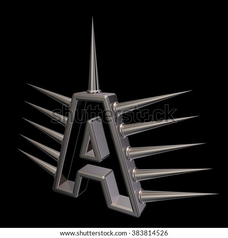 letter a with metal prickles on black background - 3d illustration - stock photo