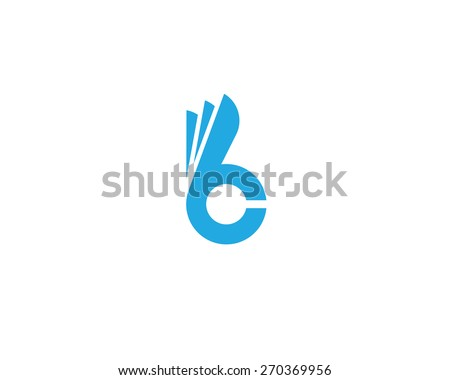 Letter B C fingers sign. Hand Ok symbol icon. Negative space idea logotype. Bunny rabbit  logo design template. - stock photo