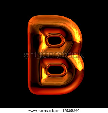 Letter B from chrome orange sunset alphabet. There is a clipping path - stock photo