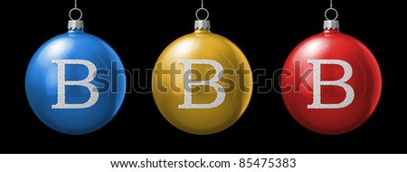 Letter B from cristmas ball alphabet. There is a clipping path - stock photo