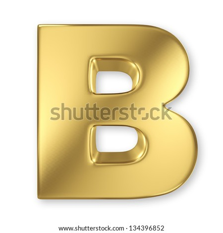 Letter B from gold solid alphabet - stock photo