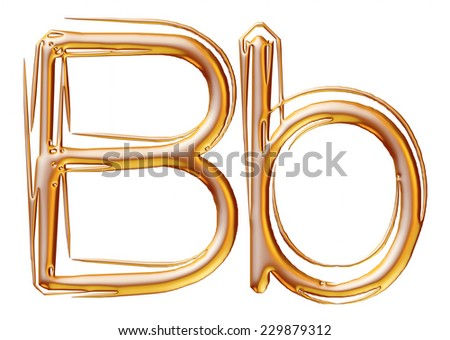 Letter B from gold solid alphabet on isolated white. - stock photo