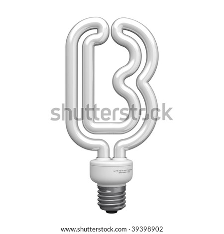 Letter B from lamp alphabet. There is a clipping path - stock photo