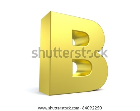letter B from my golden collection - stock photo