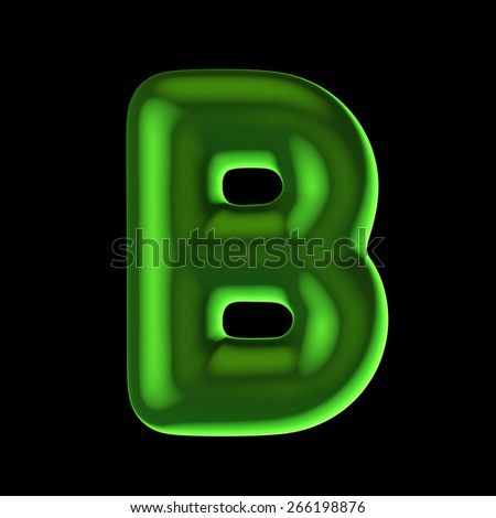 Letter B from round green back light alphabet. There is a clipping path - stock photo