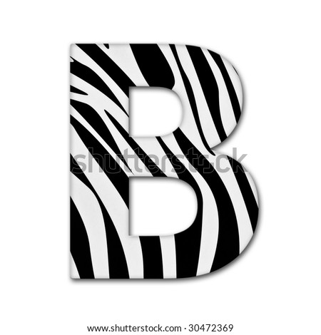 Letter B from the alphabet. Made of animal print. It has a clipping path - stock photo