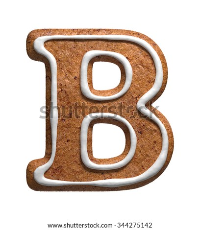 Letter B. Gingerbread font. Christmas cookies alphabet. - stock photo