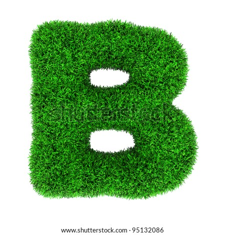 Letter B, made of grass isolated on white background. - stock photo