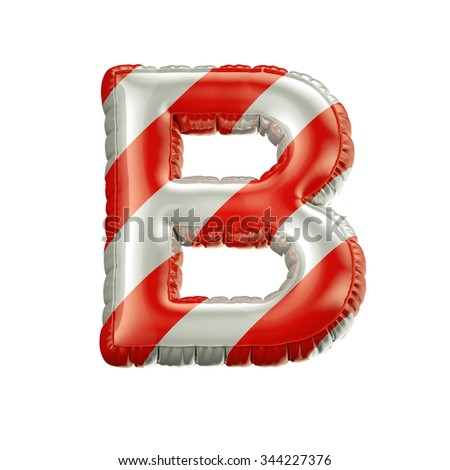 Letter B. Red and white Balloon font isolated on White Background.Birthday alphabet. - stock photo