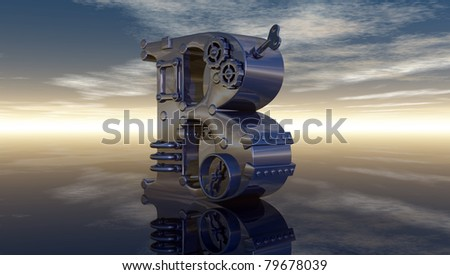 letter b under cloudy sky - 3d illustration